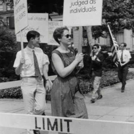 Barbara Gittings, an early hero of the LGBT civil rights movement, pickets outside Independence Hall in Philadelphia on July 4, 1964.